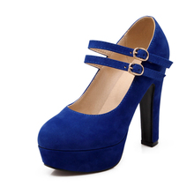 Dropshipping Sexy Office Lady Wedding Kid Suede Leather High Heel Women Ankle Strap Platform Thick Heel Pumps Party Shoes D041A handmade christmas green emerald suede sheet leather heel greenery wedding shoes with knot open toe ankle strap d orsay pumps