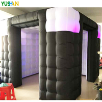 10ft Black with White Portable Inflatable Photo Booth Wedding backdrop stand with LED Lights Inflatable Enclosure Tent For Party
