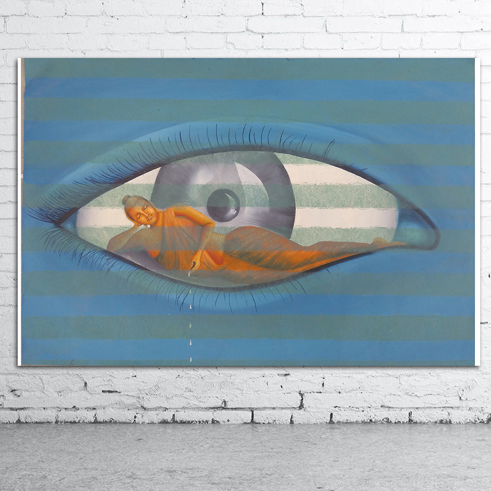 CHENFART Buddha Eyes Abstract India Wall Art  Oil Painting Picture For Living Room Home Decoration Modern Printing Unframe