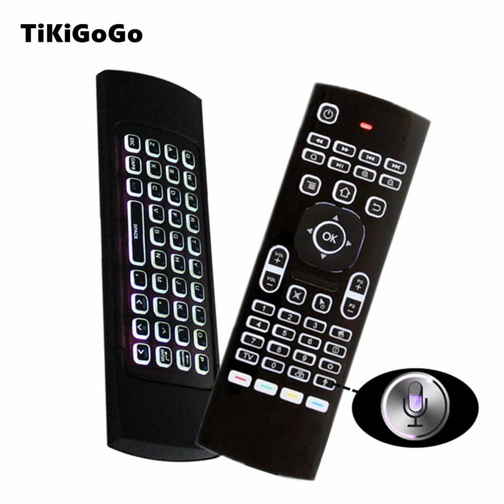 Tikigogo air mouse backlit MX3 pro with voice microphone 2.4G wireless mini keyboard with IR learning extend remote controller