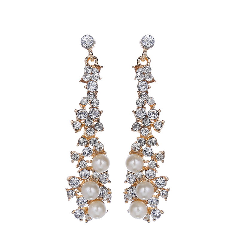 2016 Statement Jewelry Temperament  Imitation Pearl Crystal Earrings Elegant Long Flowers Drop Earrings Women Weeding Bride