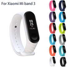 Watch Strap For Xiaomi Mi Band 3 Bracelet Silicone Wristband Intelligent Motion Bracelet Replacement With Rhomboid 3d Texture(China)