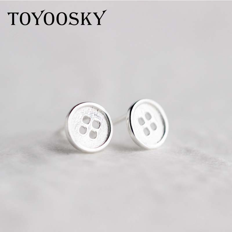 1pair 6mm 8mm Round Fastener Button Shape Stud Earrings 925 Stamp Sterling Silver Cute Girls Child Fashion Jewelry