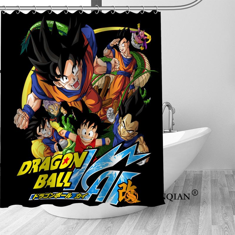 High Quality Custom Dragon Ball Z Shower Curtain Hooks Mildew Resistant Bath Bathroom Decor