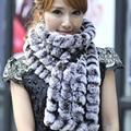 Hombres y mujeres del otoño Engrosamiento de invierno de Cuero de lana liebre ampliado bufanda de conejo rex bufanda del silenciador femenina bufanda caliente