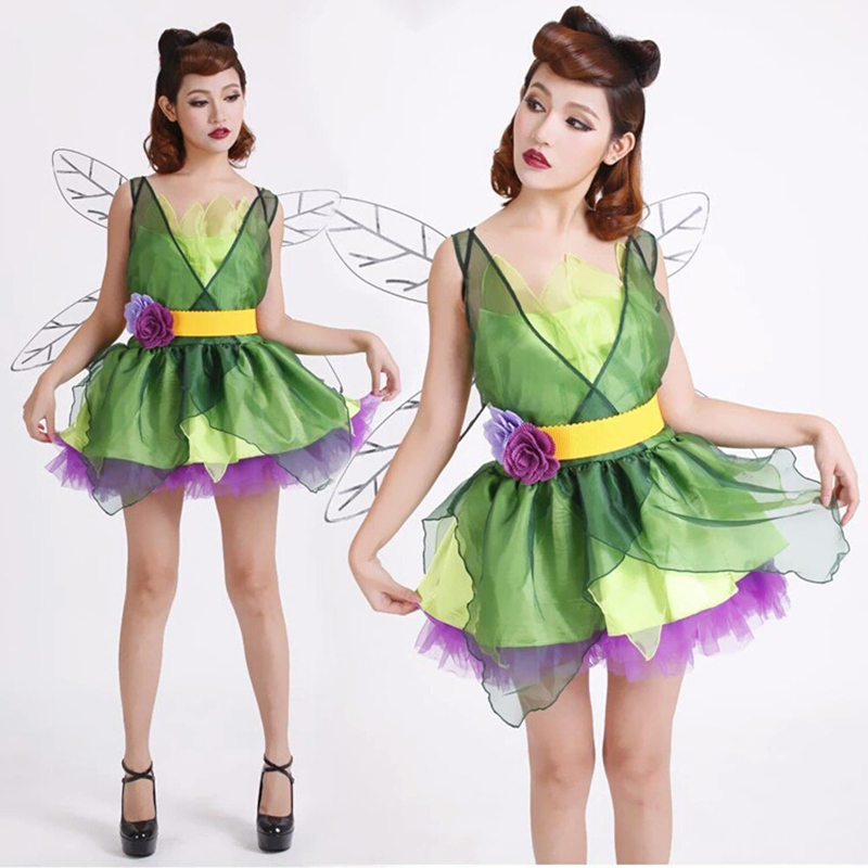 2018 New High Quality Flower Fairy Green Elf Women Ice and Fire Halloween Carnival Fancy Party Dresses Women Green Pet Elf Cospl