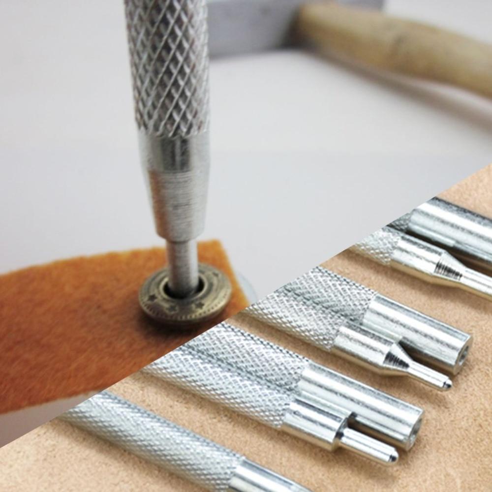 все цены на 11pcs/ Set Metal Leather Craft Tool Die Hole Punch Snap Fastener Installation Kit Rivet Setter Base Fixing Set for DIY Buttons онлайн