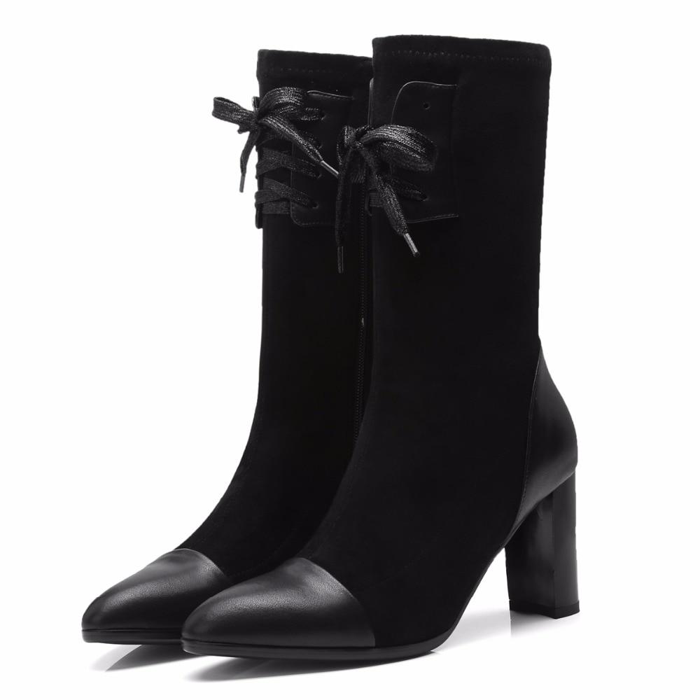 Zapatos Cm Cruz Altos De Mujer gray 40 Atada Invierno Botas Black Tamaño Gris Moda 8 Mediados Gruesos 2018 Tacones becerro Furtado De Arden 33 awI6Uq7I