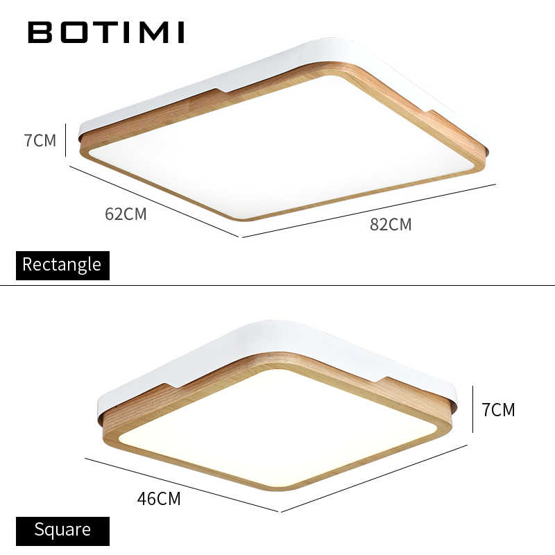 Botimi современные светодиодный потолочный светильник для гостиной потолочный светильник для деревянных комнат освещение Squre спальня лампа с пультом дистанционного управления