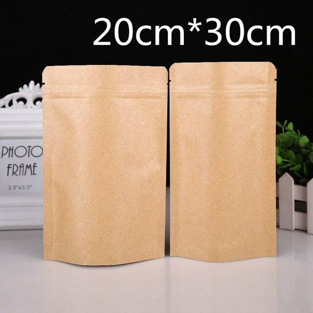 DHL 7.9 ''x 11.8'' (20x30 cm) Stand Up saco de Papel Kraft Folha De Alumínio Saco De Armazenamento Para O Café Em Pó Feijão Pacote Zipper Doypack Bloqueio Bolsa