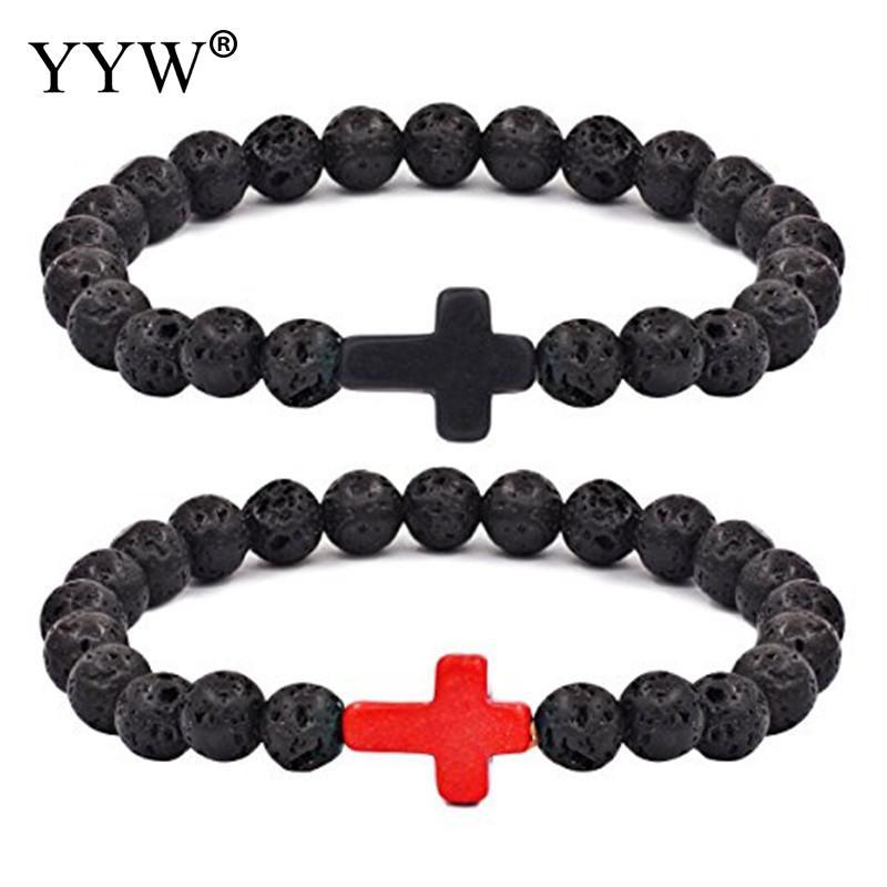 2017 New 8mm Natural Lava Stone Beaded Bracelet Men Hematite Gallstone Cross Bracelets Pulseras Hombre Yoga Jewelry