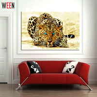 Modern DIY Painting By Numbers Leopard Picture Home Wall Art Canvas Decor Frameless Abstract Painting Cuadros