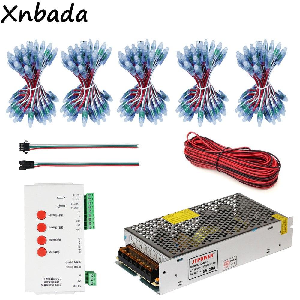 250 pièces WS2811 IC RGB Led Module chaîne étanche DC5V + T-1000S carte SD WS2801 WS2811 WS2812 Led de contrôle + alimentation Led