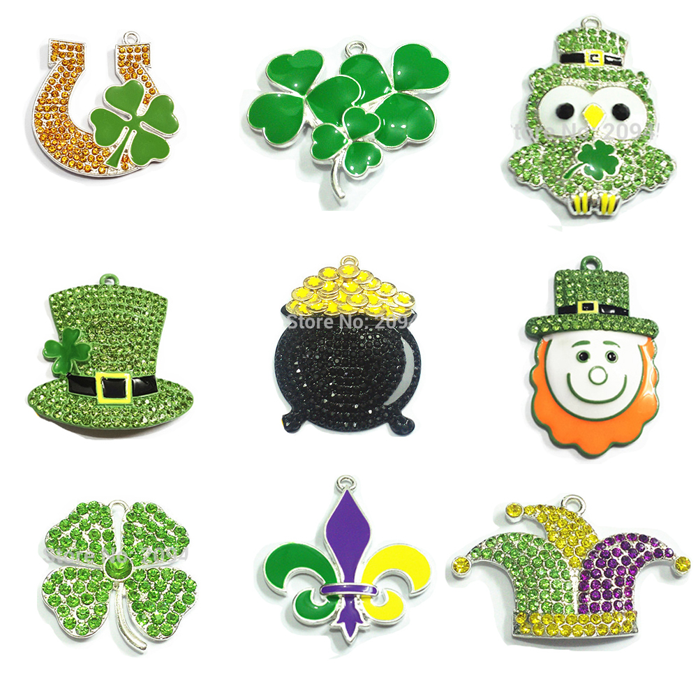 ( Choose Design First ) 10pcs/bag Zinc Alloy Rhinestone/Enamel Clover hat,Clown hat,Bam,Owl Pendant For St. Patrick Day Making