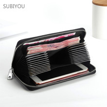 New Rfid Wallet Real Leather Purse Credit Cards Case Carteira Feminina Check Clip  Clutch Bag Large Capacity Passport Cover Card