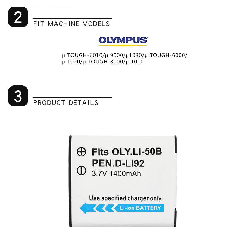 Dinto 1pc 1400mAh Li-50B Li50B Li 50B Li-ion Camera Battery for Olympus u6010 u6020 for Pentax XZ-1 SP-800UZ D-Li92 DLi92 - ANKUX Tech Co., Ltd