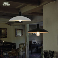 Ming lamp family Loft the American village industrial Restaurant Bar retro single horn aluminum plate hanging lamp