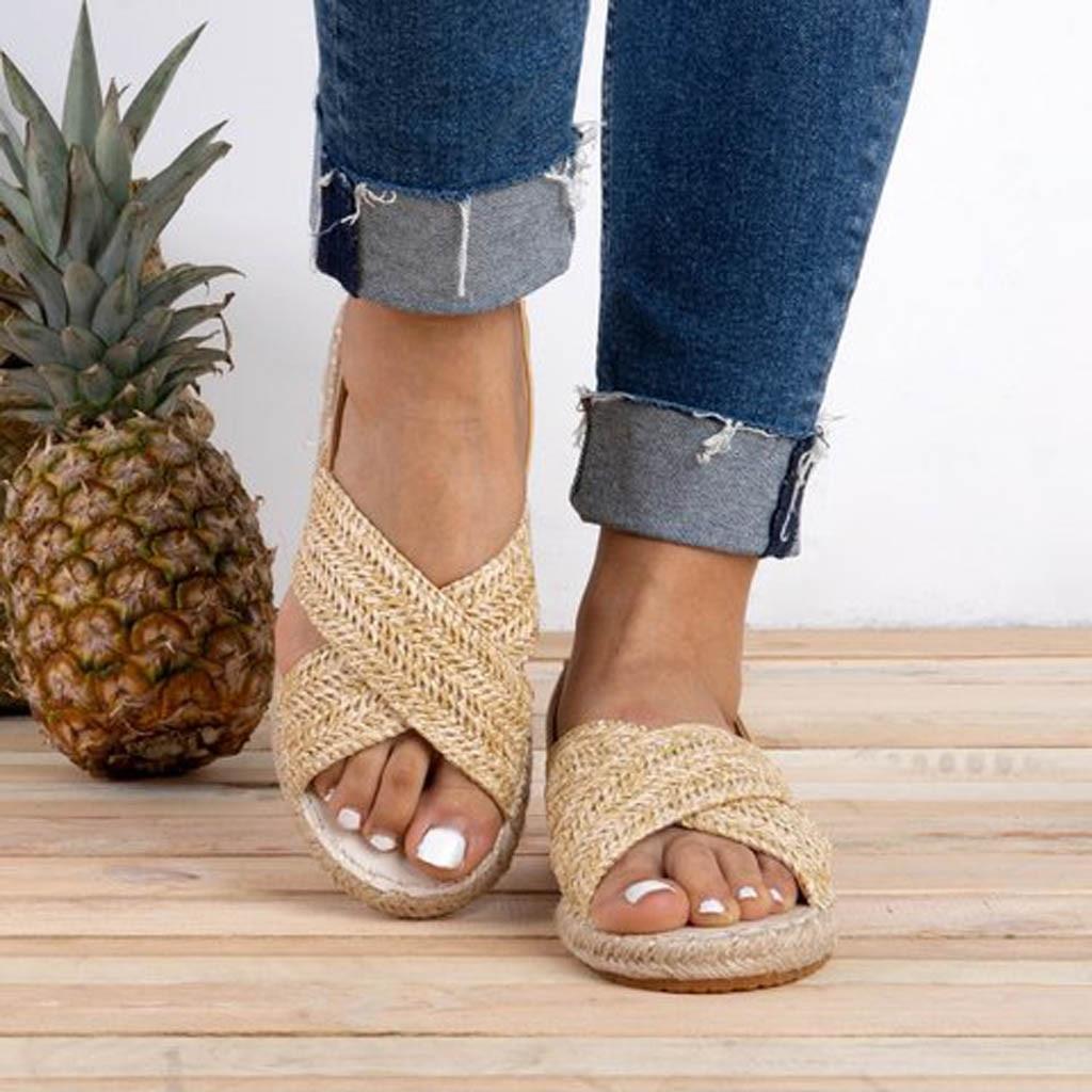 Women's Summer Footwear Flats Straw Hemp Rope Elastic Band Casual Shoes Roman Sandals Grass Woven Leisure Sandalias Mujer 2019