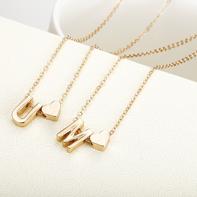 Letter Initial Necklace Heart Pendant - Gold or Silver 5