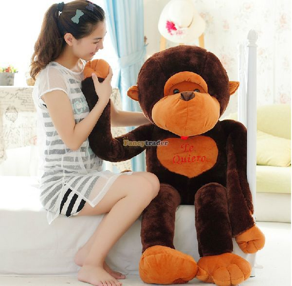 Fancytrader Super Lovely 51'' / 130cm Biggest Stuffed Plush Monkey Toy,  Nice Gift For Kids and Friends, Free Shipping FT50258 fancytrader 2015 novelty toy 24 61cm giant soft stuffed lovely plush seal toy nice gift for kids free shipping ft50541