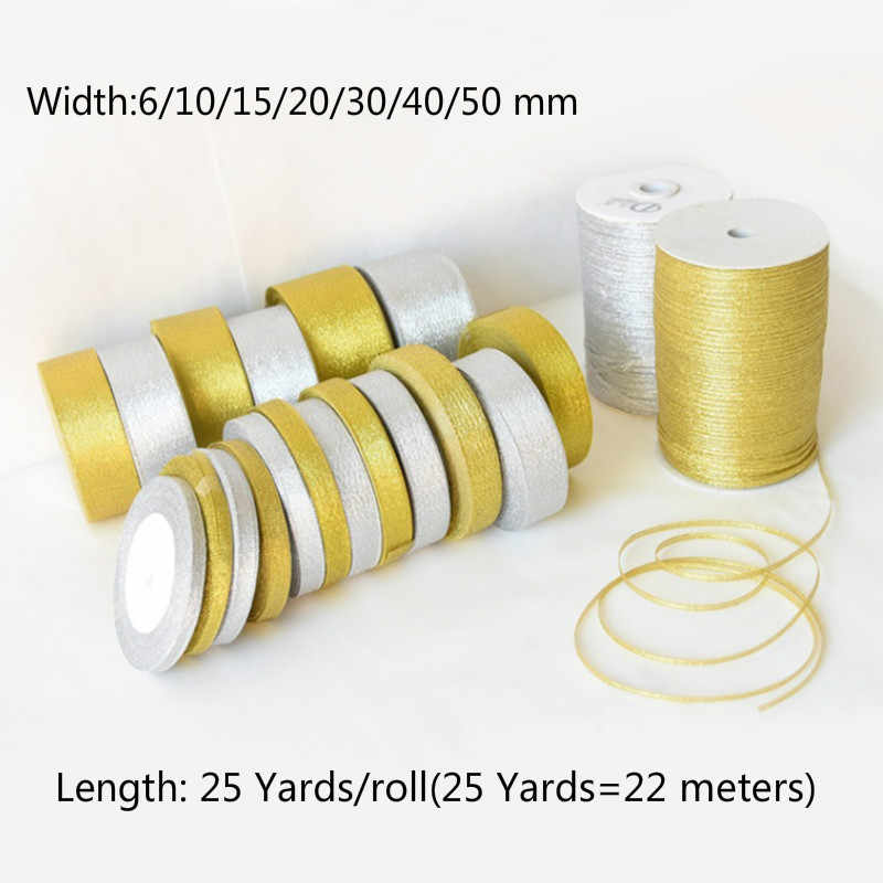(3-50mm) Gold/Silver Silk Satin Organza Ribbon Glitter Embroidered Onions Ribbons For Wedding Cake Gift Decor DIY Craft Supplies