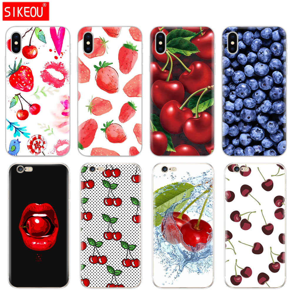 Silicone Cover Phone Case For Iphone 6 X 8 7 6s 5 5s SE Plus 10 XR XS Max Case fruit cherry Strawberry design