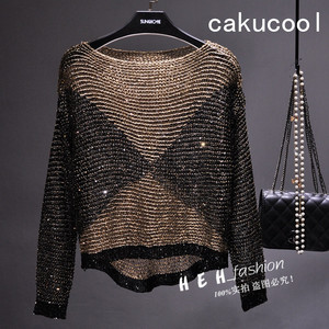 Cakucool Women Sequined Spring Knit Tops Long Batwing Sleeve Big O-neck Blouse Sequined Bling Loose Pullover Knitted shirt Femme(China)