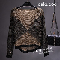 Cakucool Women Sequined Spring Knit Tops Long Batwing Sleeve Big O neck Tees Sequined Bling Loose Pullover Knitted T shirt Lady