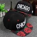 2015 Cayler sons Letras Bordados Chicago O Jardim de Rosas Borda Boné de beisebol Tampas de Hip Hop Snapback Chapéus Casuais Para Homens mulheres