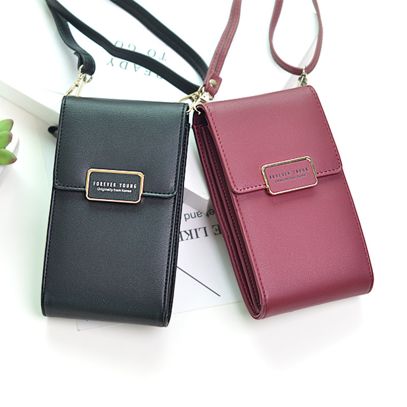 2019 New Women Leather Wallet Fashion Phone Messenger Bag Hasp Zipper Coin Card Crossbody Bags Lady Daily Use Big Capacity Purse Комедон