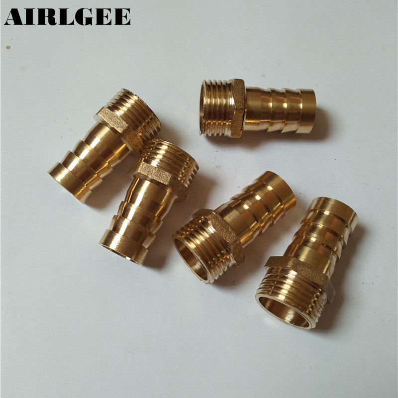 5 Pcs 1/2PT Male Thread to 16mm Hose Barb Brass Straight Coupling Fitting Connector шприц одноразовый 20 мл n5
