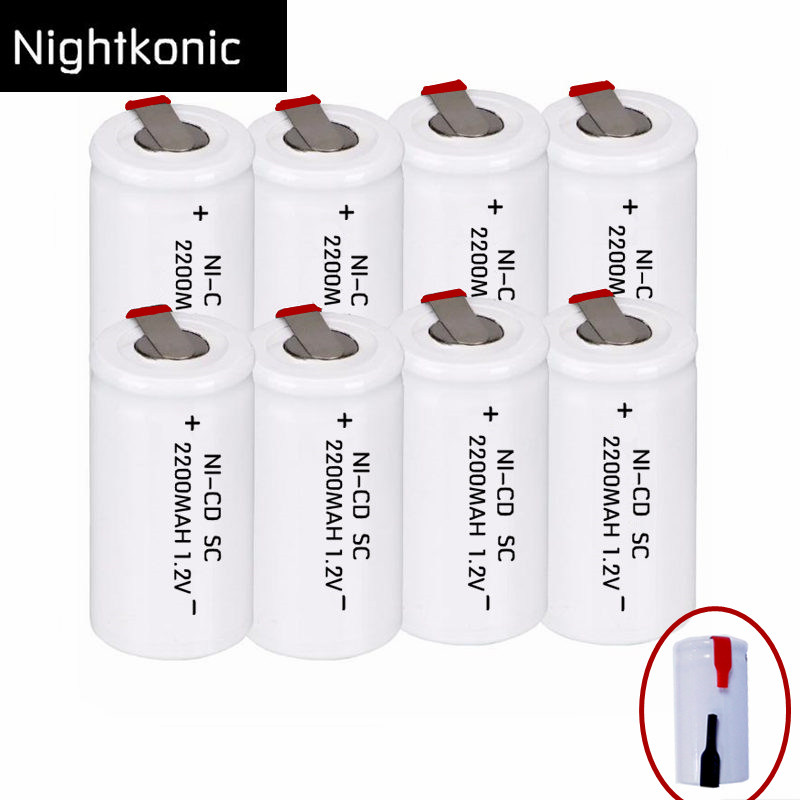 Original NIGHTKONIC 2200mAh SC battery rechargeable subc battery replacement 1.2 v NI-CD with tab кеды converse m9613