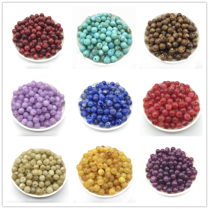 Wholesale 6/8 / 10mm acrylic imitation natural stone beads, acrylic beads, Round bead DIY jewelry accessories production