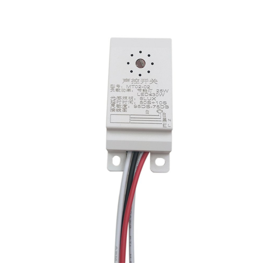 1pcs Hot Worldwide MT02-02 95DB-75DB Intelligent Auto On Off Light Sound Voice Sensor Switch Time Delay AC 160-250V Hot Search high quality sound and light control switch delay 60s sensor switch 220v ac 50hz 60w 25w 5w 95db 75db free shipping