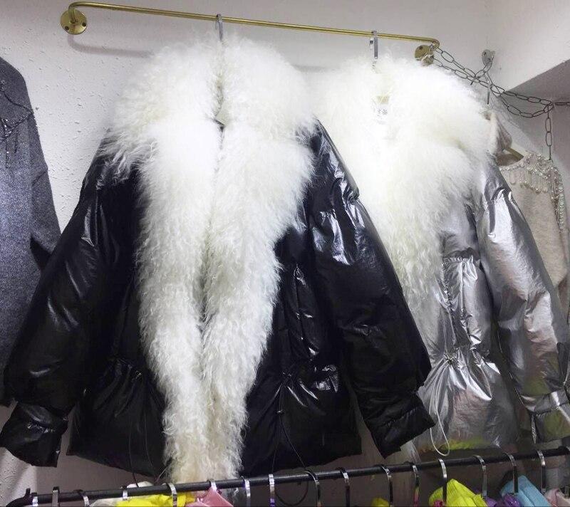 Big Coton argent noir Femmes Hiver Rembourré Épais Métallique Automne Streetwear Manteau Black Veste Real Parkas Mode White D'hiver Fur D'agneau 2018 Fourrure Outwear vI6nxn