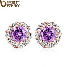 BAMOER 2016 New Fashion Purple Stones Crystals Girl Stud Earrings with AAA Zircon Earrings Jewelry Party Gift JIE054-VT