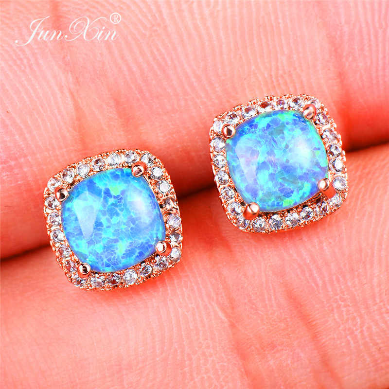 Bohemian Female Girl Blue Fire Opal Earrings 18KT Rose Gold Filled Jewelry Vintage Wedding Stud Earrings For Women