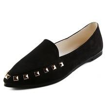 Women's Flats Rivet Ladies Comfy Shoes Soft Slip-On Casual Boat Shoes