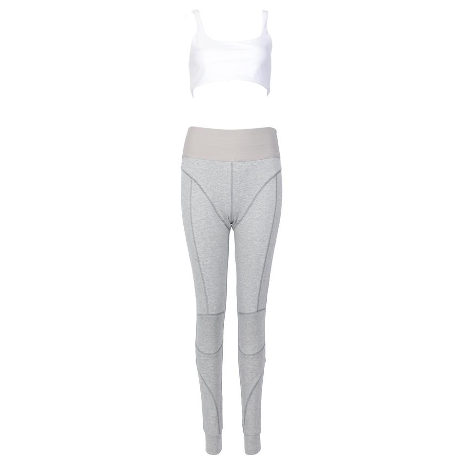 Gymwear Crop Ensemble Top Pièces Taille Sport Pantalon Gray Mode Spaghetti Coton Legging Élastique Deux Designer Kyliejenner Nouvelle Black Bretelles And white aq7AOI