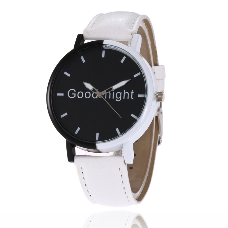 MJARTORIA Fashion Women Men Clock 2018 PU Leather Wrist Watch Letter Goodnight Black Dial Quartz Watch Dropshipping Girls Watch