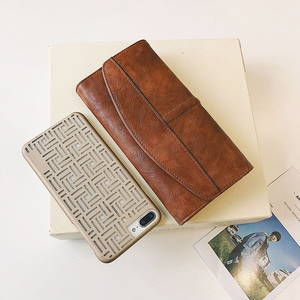 Image 2 - Potrójnie składany portfel kobiet długi PU skóra kobiet torebka z uchwytem Hasp kobieta telefon torba dziewczyna posiadacz karty elegancki pokrowiec