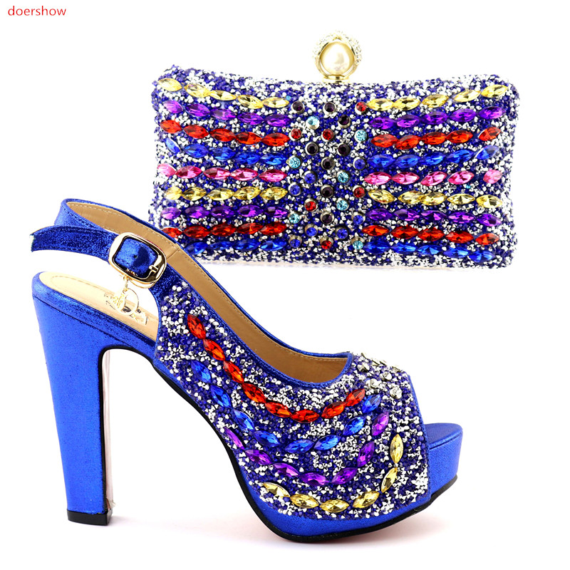doershow Italian Shoes and Bags To Match Shoes with Bag Set Decorated with Rhinestone Nigerian Wedding Shoes and bag  HQQ1-11 italian visual phrase book