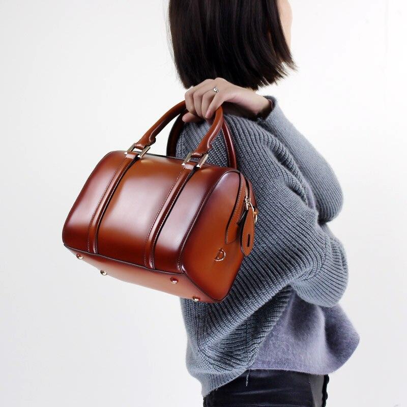 Oreiller mode sac à main en cuir véritable 2019 femmes Top poignée sac élégant Messenger épaule sac à bandoulière bureau dame sac à main-in Sacs à bandoulière from Baggages et sacs    1
