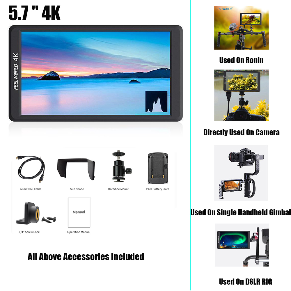 Feelworld F570 5.7 4K HDMI IPS Full HD 1920x1080 DSLR camera Field Monitor for DJI Ronin S Zhiyun Crane 2 Sony Nikon Canon цена