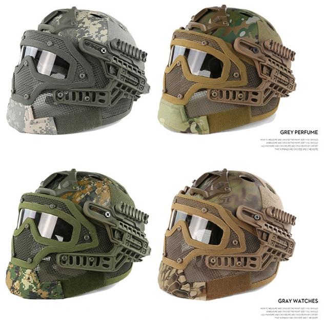 New Military Field Tactical Gear Helmet/CS Sports Mask+Helmets Commando Combat Paintball Air Gun tatico Protection Helmet10color
