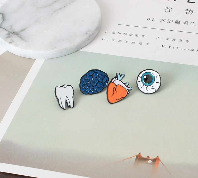 free shipping Enamel Eye Teeth Brain Heart Brooches Pins Human Body Organs For Womens Jewelry Needle Brooch Lapel Pin Collar