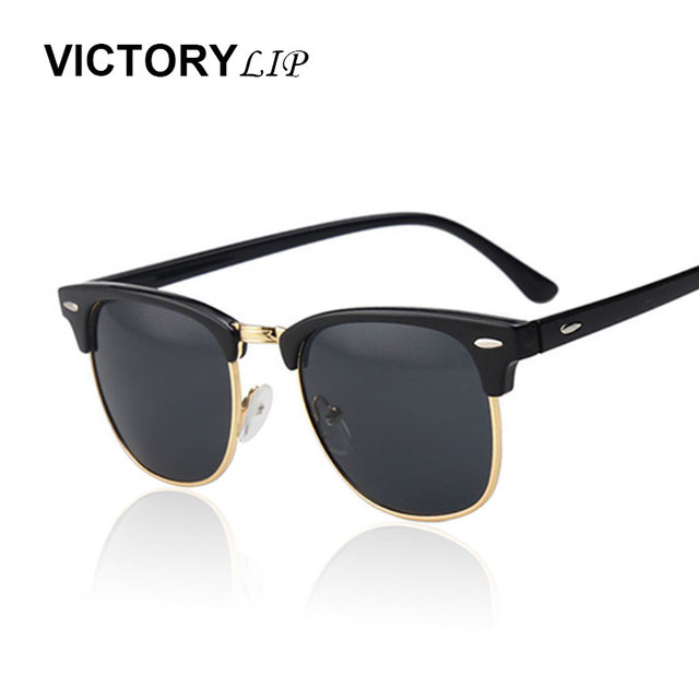 b7523214d6 VictoryLip Classic Half Rims Mirror Fashion Sunglasses Men Women UV Protect  100% Rivet Sun Glasses Male Female Shades Vintage