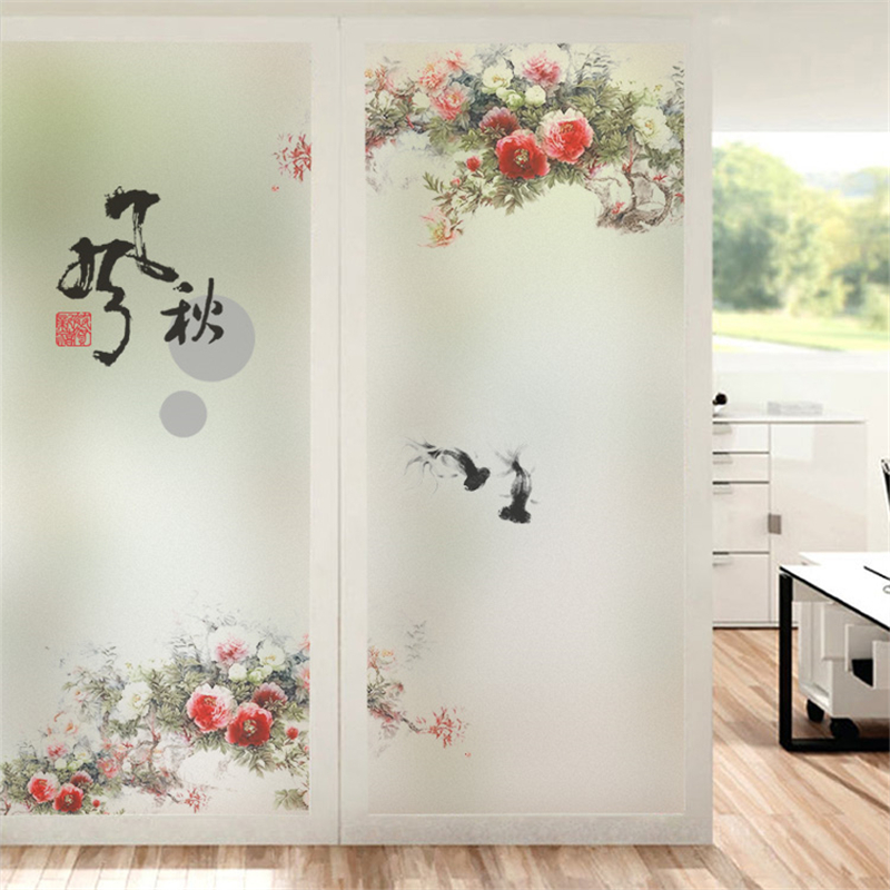 Window film Static glass film window sliding door Glass door sliding sunscreen window sticker Flower decoration film in Decorative Films from Home Garden