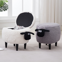 Hot Sale Storage Box Organizer Organizador Stool Wood Dresser Household Sofa Washable Sheep Europe 150 Kg Polygon Sundries