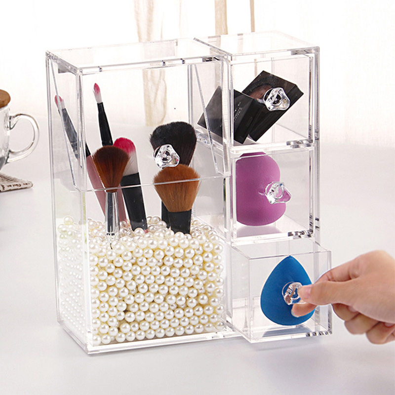 Multi function Acrylic Makeup Organizer Makeup Brush Display Box Cosmetics Tools Storage Holder Jewelry Accessory Case Casket|Storage Boxes & Bins|   - title=